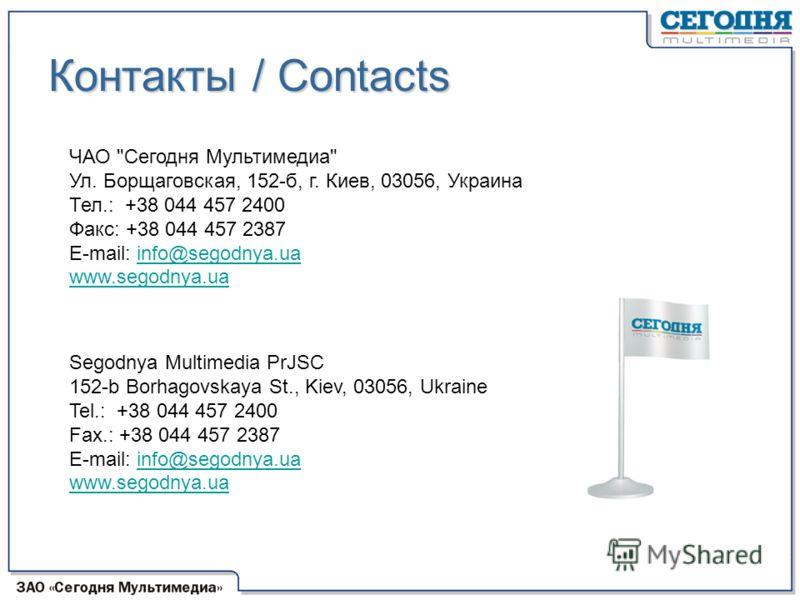 Контакты / Contacts ЧАО