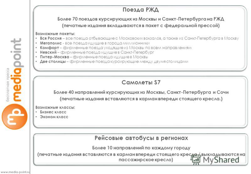 www.media-point.ru Поезда РЖД Более 70 поездов курсирующих из Москвы и Санкт-Петербурга на РЖД (печатные издания вкладываются в пакет с федеральной прессой) Возможные пакеты: Вся Россия – все поезда отбывающие с Московских вокзалов, а также из Санкт-