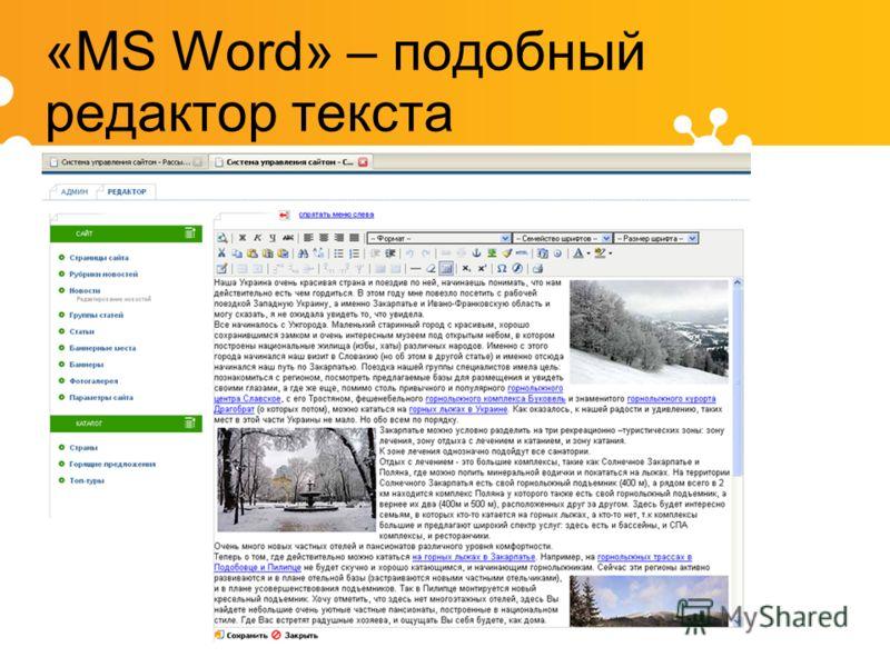«MS Word» – подобный редактор текста