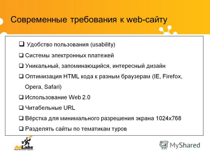 Современные требования к web-сайту