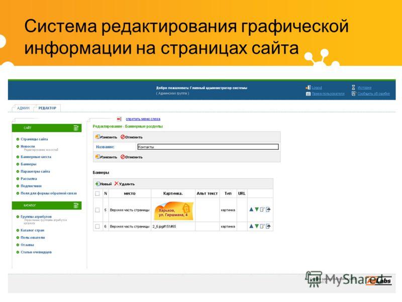 Система редактирования графической информации на страницах сайта