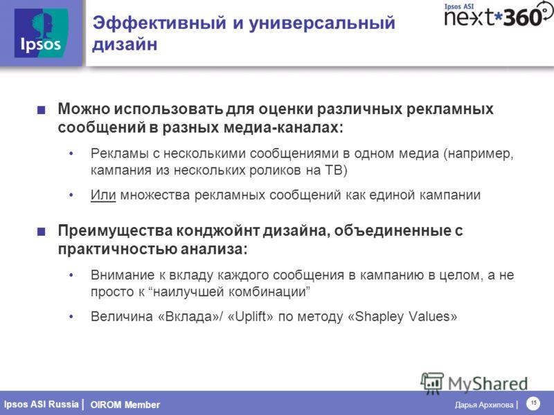 OIROM Member Ipsos ASI Russia | Дарья Архипова | 15 Эффективный и универсальный дизайн Можно использовать для оценки различных рекламных сообщений в разных медиа-каналах: Рекламы с несколькими сообщениями в одном медиа (например, кампания из нескольк