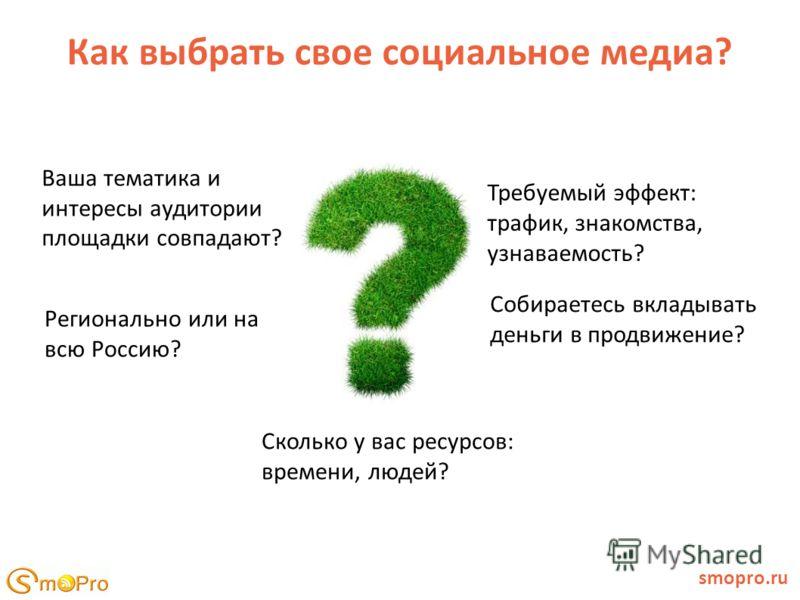 Как выбрать свое социальное медиа? smopro.ru Ваша тематика и интересы аудитории площадки совпадают? Сколько у вас ресурсов: времени, людей? Собираетесь вкладывать деньги в продвижение? Требуемый эффект: трафик, знакомства, узнаваемость? Регионально и