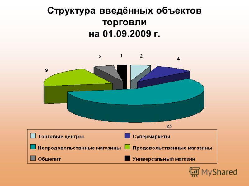 Структура введённых объектов торговли на 01.09.2009 г.