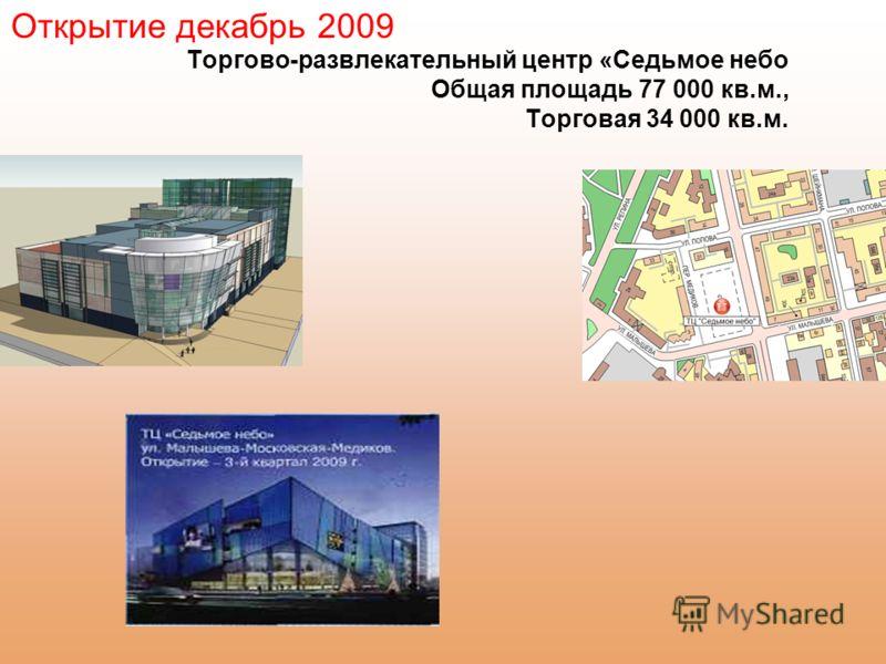 Торгово-развлекательный центр «Седьмое небо Общая площадь 77 000 кв.м., Торговая 34 000 кв.м. Открытие декабрь 2009