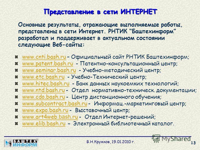 Представление в сети ИНТЕРНЕТ Основные результаты, отражающие выполняемые работы, представлены в сети Интернет. РНТИК Баштехинформ разработал и поддерживает в актуальном состоянии следующие Веб-сайты: www.cnti.bash.ruwww.cnti.bash.ru – Официальный са