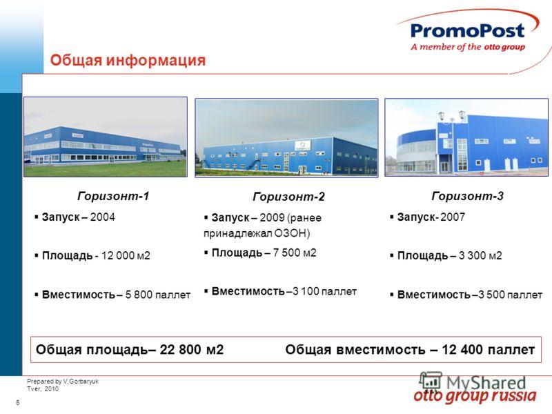 6 Prepared by V.Gorbaryuk Tver, 2010 Общая информация Horizon-1 Горизонт-1 Запуск – 2004 Площадь - 12 000 м2 Вместимость – 5 800 паллет Горизонт-2 Запуск – 2009 (ранее принадлежал ОЗОН) Площадь – 7 500 м2 Вместимость –3 100 паллет Горизонт-3 Запуск-