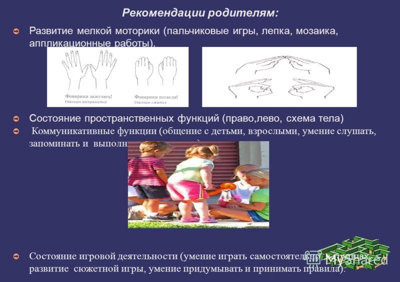 Рекомендации родителям: Развитие мелкой моторики (пальчиковые игры, лепка, мозаика, аппликационные работы). Состояние пространственных функций (право,лево, схема тела) Коммуникативные функции (общение с детьми, взрослыми, умение слушать, запоминать и