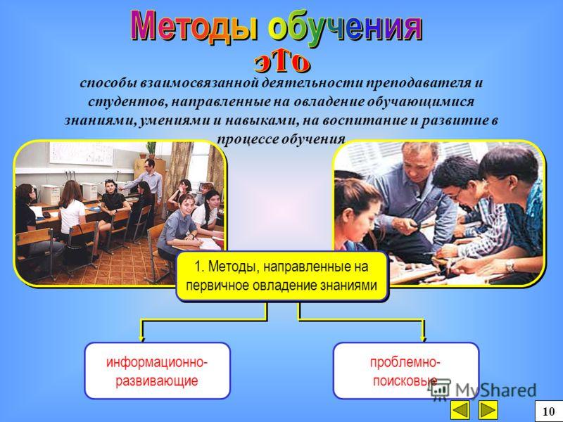 способы взаимосвязанной деятельности преподавателя и студентов, направленные на овладение обучающимися знаниями, умениями и навыками, на воспитание и развитие в процессе обучения информационно- развивающие проблемно- поисковые 1. Методы, направленные