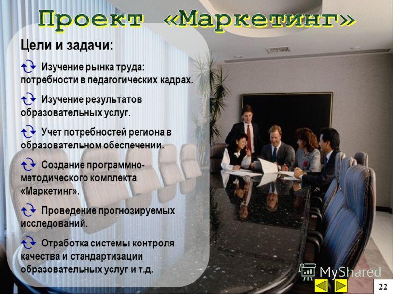 Цели и задачи: Изучение рынка труда: потребности в педагогических кадрах. Изучение результатов образовательных услуг. Учет потребностей региона в образовательном обеспечении. Создание программно- методического комплекта «Маркетинг». Проведение прогно