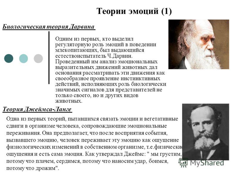 Одним из первых, кто выделил регуляторную роль эмоций в поведении млекопитающих, был выдающийся естествоиспытатель Ч.Дарвин. Проведенный им анализ эмоциональных выразительных движений животных дал основания рассматривать эти движения как своеобразное