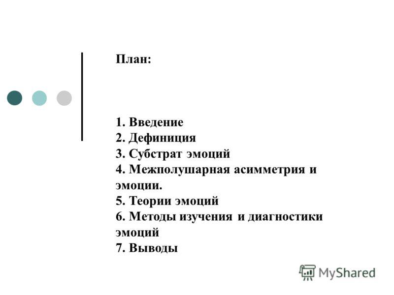 План: 1. Введение 2. Дефиниция 3. Субстрат эмоций 4. Межполушарная асимметрия и эмоции. 5. Теории эмоций 6. Методы изучения и диагностики эмоций 7. Выводы