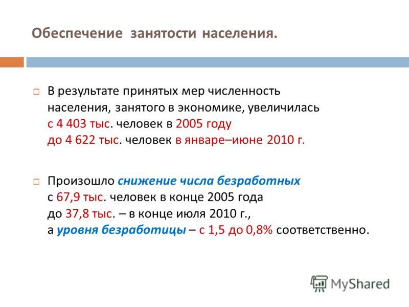 В результате принятых мер численность населения, занятого в экономике, увеличилась с 4 403 тыс. человек в 2005 году до 4 622 тыс. человек в январе – июне 2010 г. Произошло снижение числа безработных с 67,9 тыс. человек в конце 2005 года до 37,8 тыс.