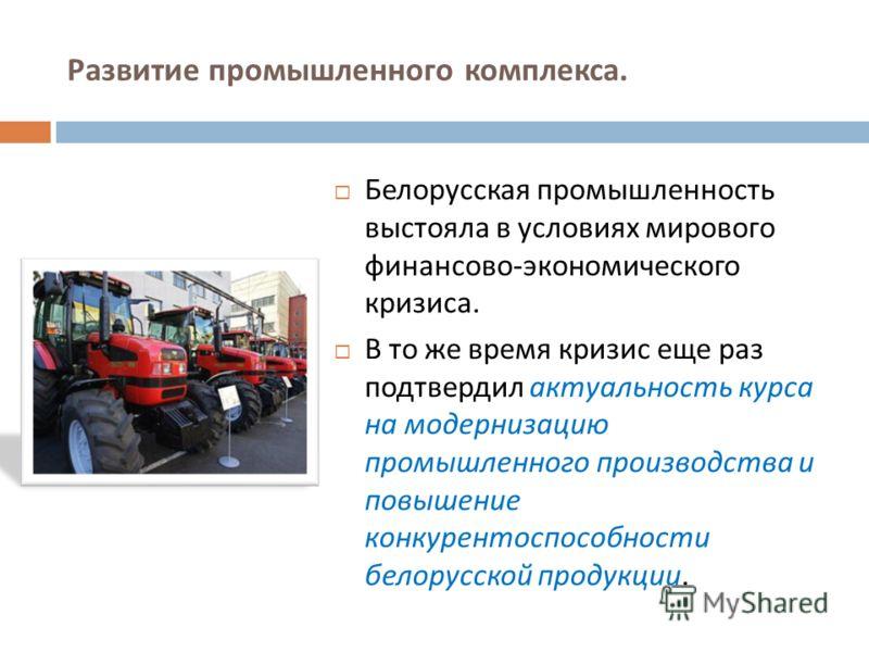 Развитие промышленного комплекса. Белорусская промышленность выстояла в условиях мирового финансово - экономического кризиса. В то же время кризис еще раз подтвердил актуальность курса на модернизацию промышленного производства и повышение конкуренто