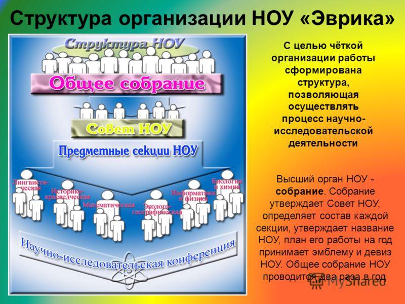 Структура организации НОУ «Эврика» С целью чёткой организации работы сформирована структура, позволяющая осуществлять процесс научно- исследовательской деятельности Высший орган НОУ - собрание. Собрание утверждает Совет НОУ, определяет состав каждой
