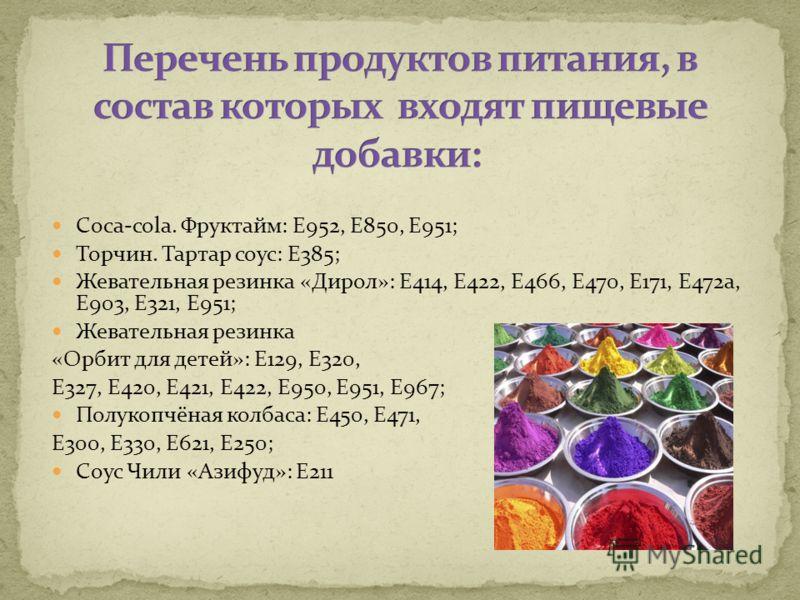 Coca-cola. Фруктайм: E952, E850, E951; Торчин. Тартар соус: E385; Жевательная резинка «Дирол»: E414, E422, E466, E470, E171, E472a, E903, E321, E951; Жевательная резинка «Орбит для детей»: E129, E320, E327, E420, E421, E422, E950, E951, E967; Полукоп