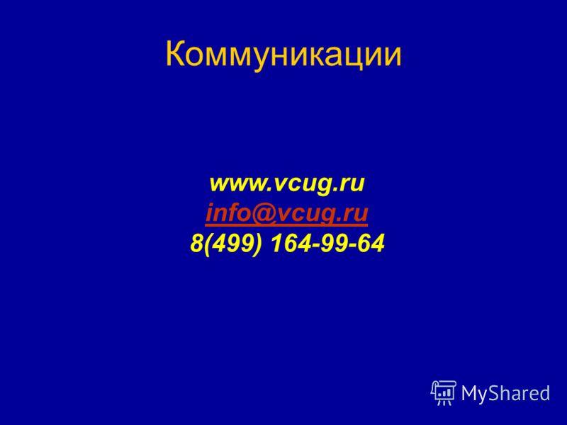 Коммуникации www.vcug.ru info@vcug.ru 8(499) 164-99-64