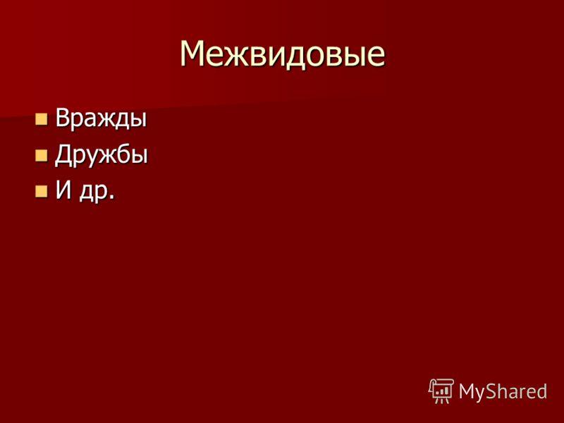 Межвидовые Вражды Вражды Дружбы Дружбы И др. И др.