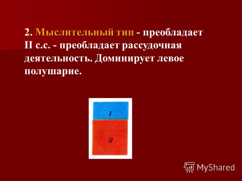 Мыслительный тип 2. Мыслительный тип - преобладает II с.с. - преобладает рассудочная деятельность. Доминирует левое полушарие.