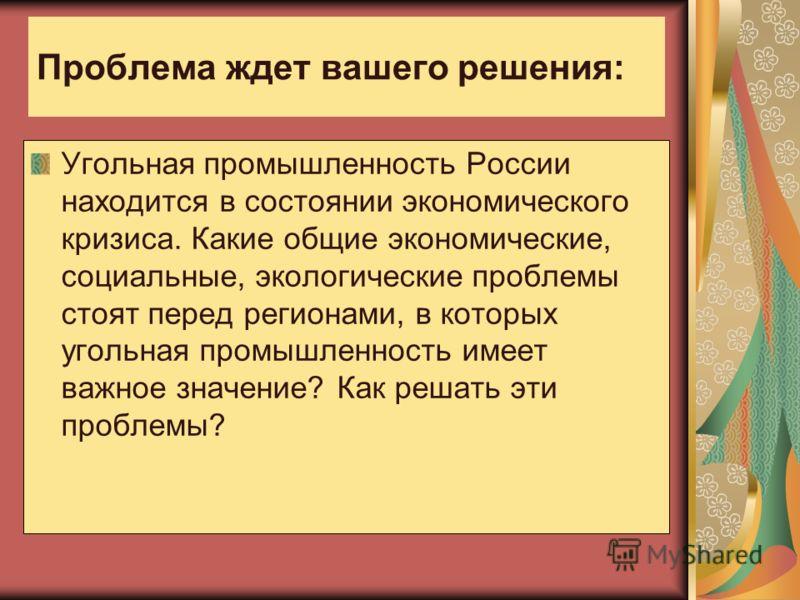 Проблема ждет вашего решения: Угольная промышленность России находится в состоянии экономического кризиса. Какие общие экономические, социальные, экологические проблемы стоят перед регионами, в которых угольная промышленность имеет важное значение? К