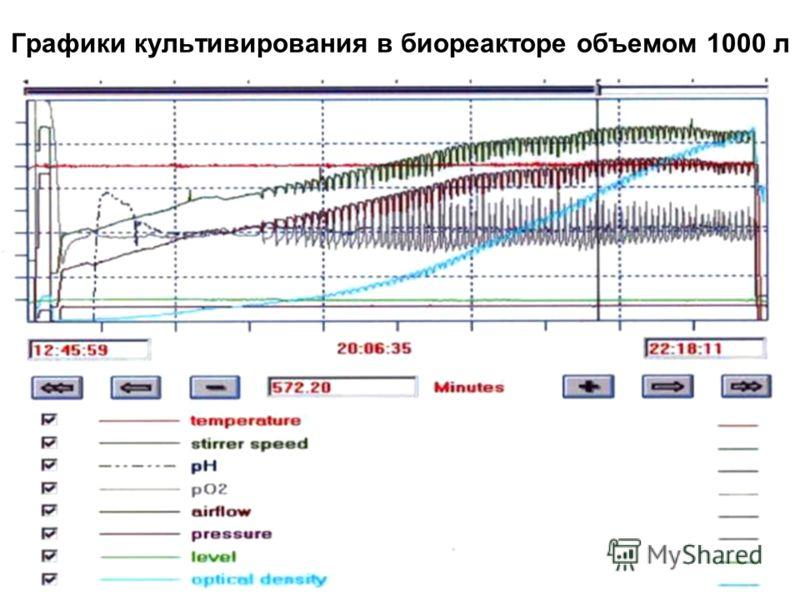 Графики культивирования в биореакторе объемом 1000 л