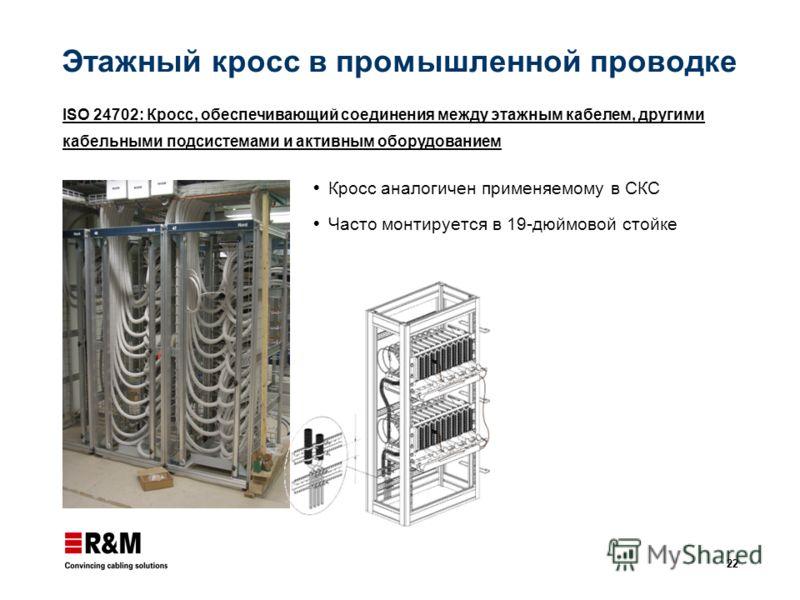 22 Этажный кросс в промышленной проводке Кросс аналогичен применяемому в СКС Часто монтируется в 19-дюймовой стойке ISO 24702: Кросс, обеспечивающий соединения между этажным кабелем, другими кабельными подсистемами и активным оборудованием