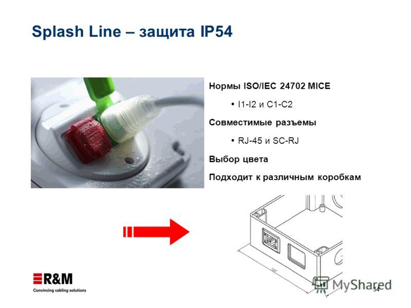 34 Splash Line – защита IP54 Нормы ISO/IEC 24702 MICE I1-I2 и C1-C2 Совместимые разъемы RJ-45 и SC-RJ Выбор цвета Подходит к различным коробкам