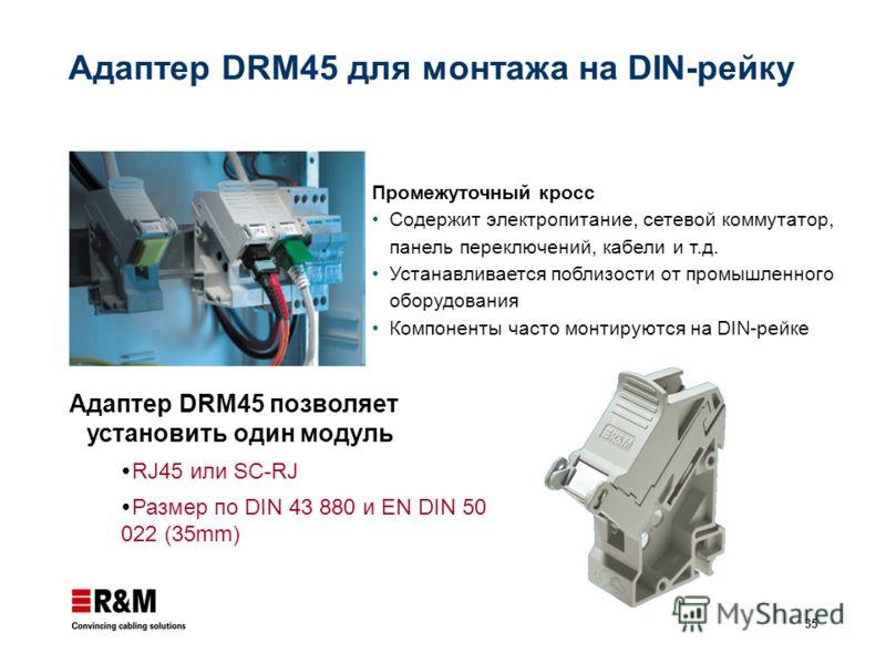 35 Адаптер DRM45 для монтажа на DIN-рейку Адаптер DRM45 позволяет установить один модуль RJ45 или SC-RJ Размер по DIN 43 880 и EN DIN 50 022 (35mm) Промежуточный кросс Содержит электропитание, сетевой коммутатор, панель переключений, кабели и т.д. Ус