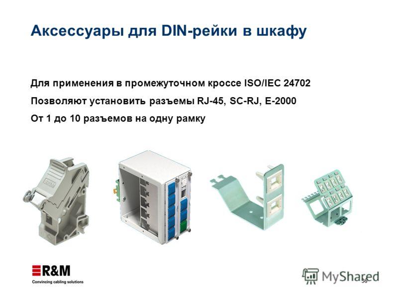 36 Аксессуары для DIN-рейки в шкафу Для применения в промежуточном кроссе ISO/IEC 24702 Позволяют установить разъемы RJ-45, SC-RJ, E-2000 От 1 до 10 разъемов на одну рамку
