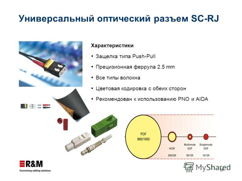 39 Универсальный оптический разъем SC-RJ Характеристики Защелка типа Push-Pull Прецизионная феррула 2.5 mm Все типы волокна Цветовая кодировка с обеих сторон Рекомендован к использованию PNO и AIDA