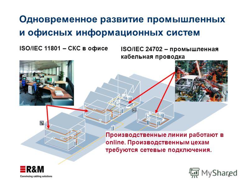 6 Одновременное развитие промышленных и офисных информационных систем ISO/IEC 11801 – СКС в офисе ISO/IEC 24702 – промышленная кабельная проводка Производственные линии работают в online. Производственным цехам требуются сетевые подключения.