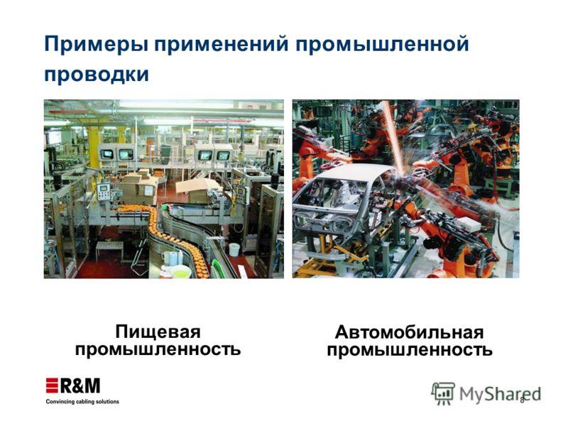 8 Примеры применений промышленной проводки Пищевая промышленность Автомобильная промышленность