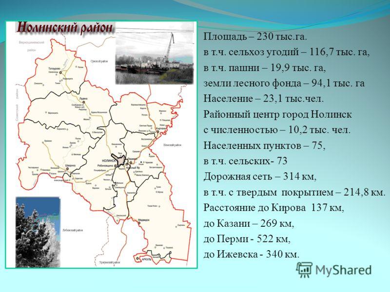 Площадь – 230 тыс.га. в т.ч. сельхоз угодий – 116,7 тыс. га, в т.ч. пашни – 19,9 тыс. га, земли лесного фонда – 94,1 тыс. га Население – 23,1 тыс.чел. Районный центр город Нолинск с численностью – 10,2 тыс. чел. Населенных пунктов – 75, в т.ч. сельск
