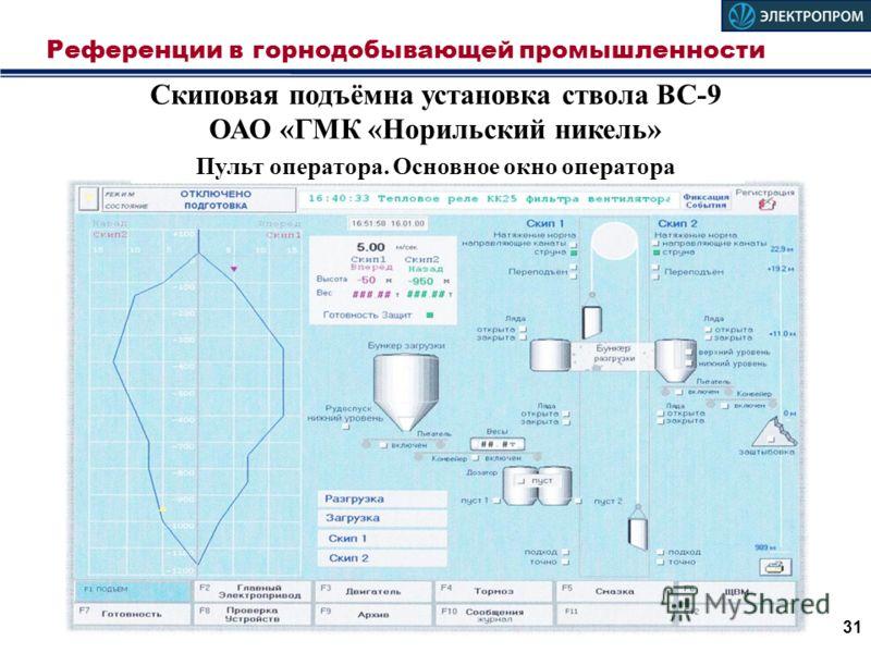 Референции в горнодобывающей промышленности 31 Скиповая подъёмна установка ствола ВС-9 ОАО «ГМК «Норильский никель» Пульт оператора. Основное окно оператора