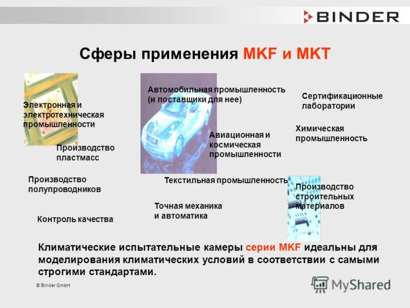 © Binder GmbH Сферы применения MKF и MKT Климатические испытательные камеры серии MKF идеальны для моделирования климатических условий в соответствии с самыми строгими стандартами. Электронная и электротехническая промышленности Автомобильная промышл