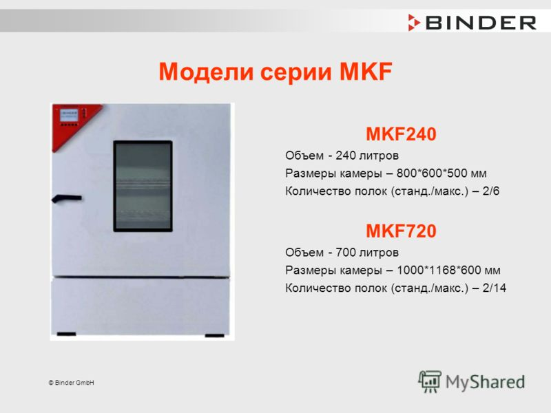 © Binder GmbH Модели серии MKF MKF240 Объем - 240 литров Размеры камеры – 800*600*500 мм Количество полок (станд./макс.) – 2/6 MKF720 Объем - 700 литров Размеры камеры – 1000*1168*600 мм Количество полок (станд./макс.) – 2/14