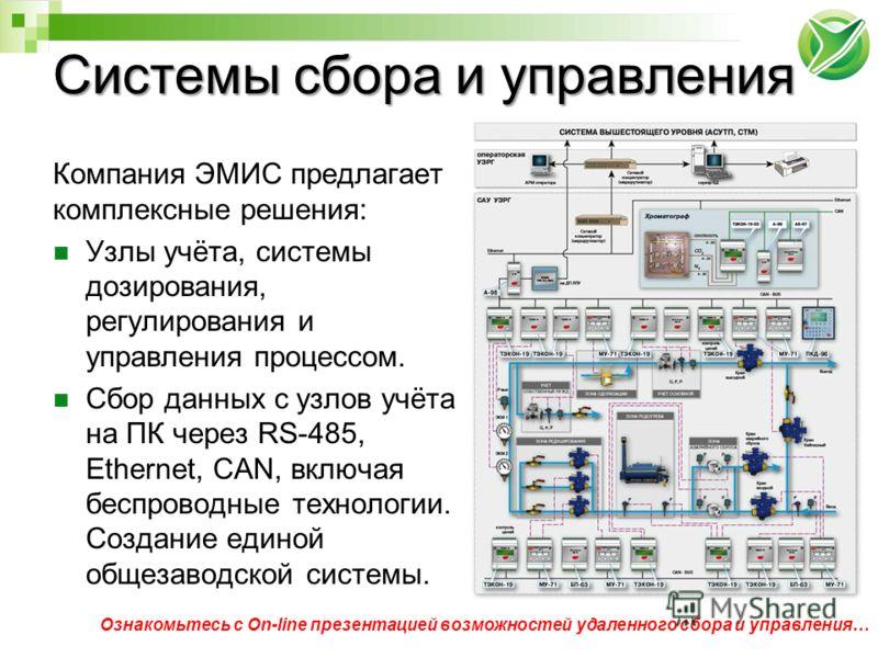 Системы сбора и управления Компания ЭМИС предлагает комплексные решения: Узлы учёта, системы дозирования, регулирования и управления процессом. Сбор данных с узлов учёта на ПК через RS-485, Ethernet, CAN, включая беспроводные технологии. Создание еди
