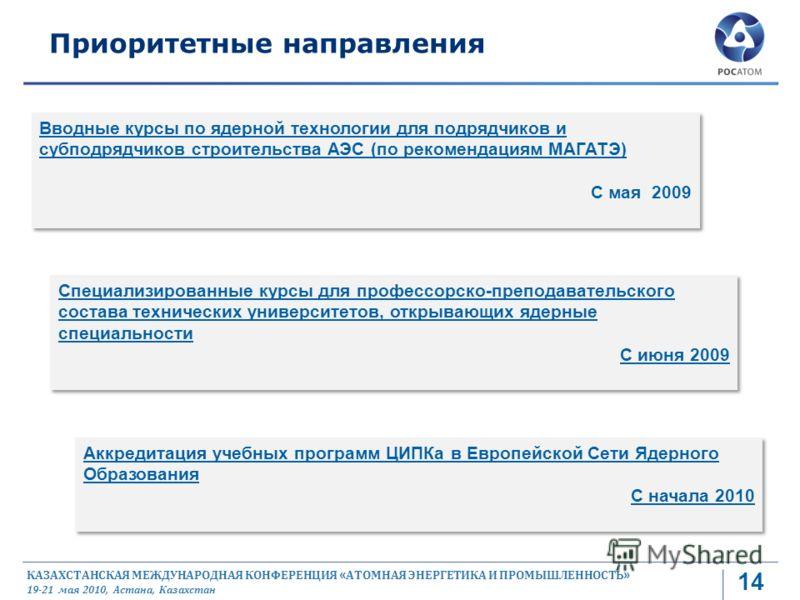 КАЗАХСТАНСКАЯ МЕЖДУНАРОДНАЯ КОНФЕРЕНЦИЯ « АТОМНАЯ ЭНЕРГЕТИКА И ПРОМЫШЛЕННОСТЬ » 19-21 мая 2010, Астана, Казахстан Вводные курсы по ядерной технологии для подрядчиков и субподрядчиков строительства АЭС (по рекомендациям МАГАТЭ) С мая 2009 Вводные курс