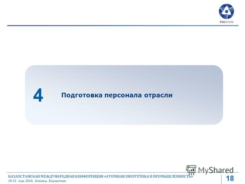 КАЗАХСТАНСКАЯ МЕЖДУНАРОДНАЯ КОНФЕРЕНЦИЯ « АТОМНАЯ ЭНЕРГЕТИКА И ПРОМЫШЛЕННОСТЬ » 19-21 мая 2010, Астана, Казахстан Подготовка персонала отрасли 4 18
