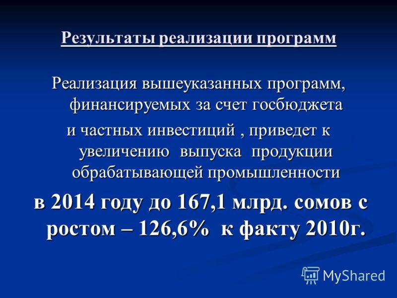 Результаты реализации программ Реализация вышеуказанных программ, финансируемых за счет госбюджета и частных инвестиций, приведет к увеличению выпуска продукции обрабатывающей промышленности в 2014 году до 167,1 млрд. сомов с ростом – 126,6% к факту