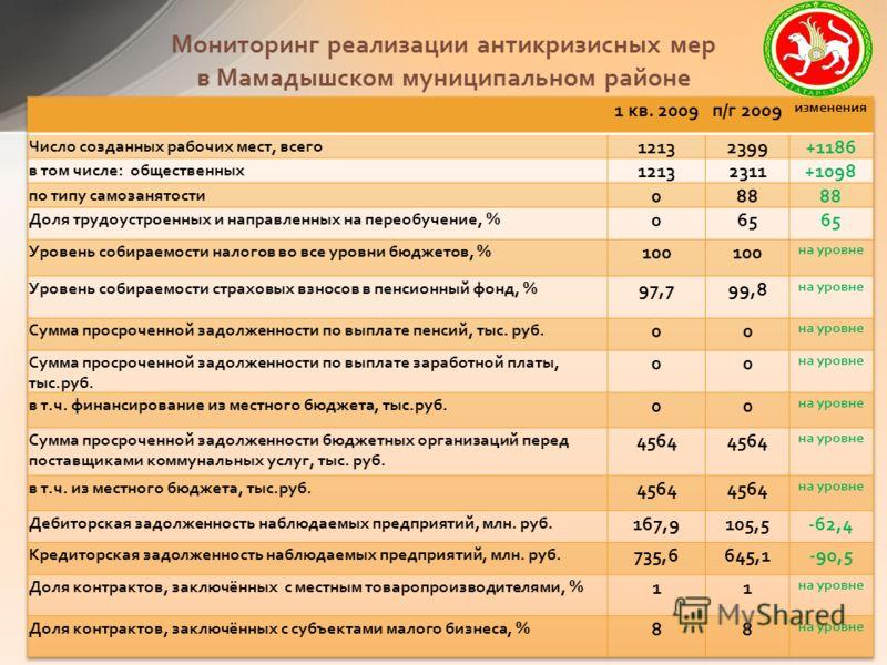 Мониторинг реализации антикризисных мер в Мамадышском муниципальном районе