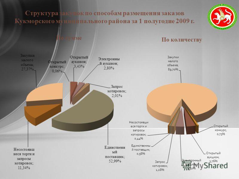 Структура закупок по способам размещения заказов Кукморского муниципального района за 1 полугодие 2009 г.