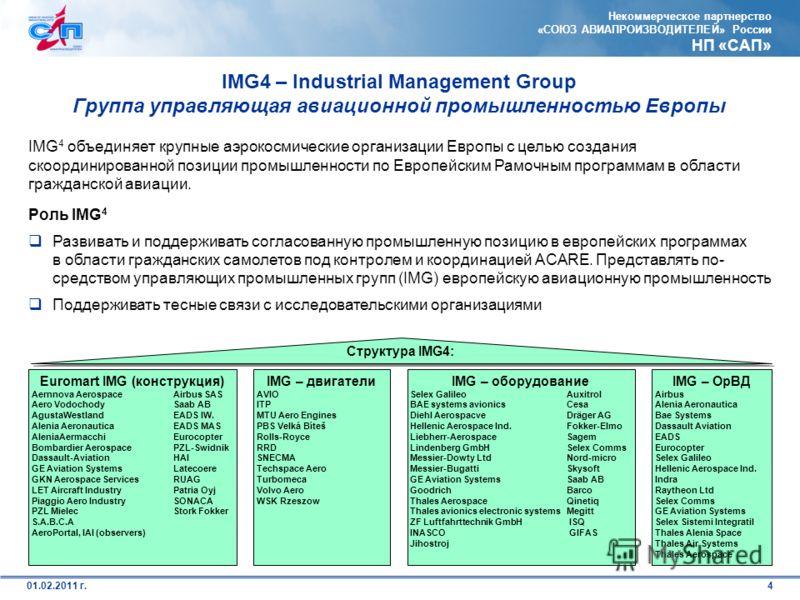 Некоммерческое партнерство «СОЮЗ АВИАПРОИЗВОДИТЕЛЕЙ» России НП «САП» 401.02.2011 г. IMG4 – Industrial Management Group Группа управляющая авиационной промышленностью Европы IMG 4 объединяет крупные аэрокосмические организации Европы с целью создания