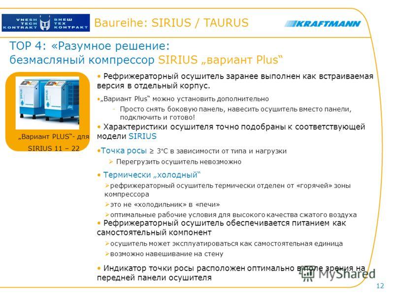Hier steht der Titel der Präsentation Baureihe: SIRIUS / TAURUS 12 TOP 4: «Разумное решение: безмасляный компрессор SIRIUS вариант Plus Характеристики осушителя точно подобраны к соответствующей модели SIRIUS Точка росы 3°C в зависимости от типа и на