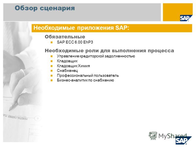 Обзор сценария Обязательные SAP ECC 6.00 EhP3 Необходимые роли для выполнения процесса Управление кредиторской задолженностью Кладовщик Кладовщик Химия Снабженец Профессиональный пользователь Бизнес-аналитик по снабжению Необходимые приложения SAP: