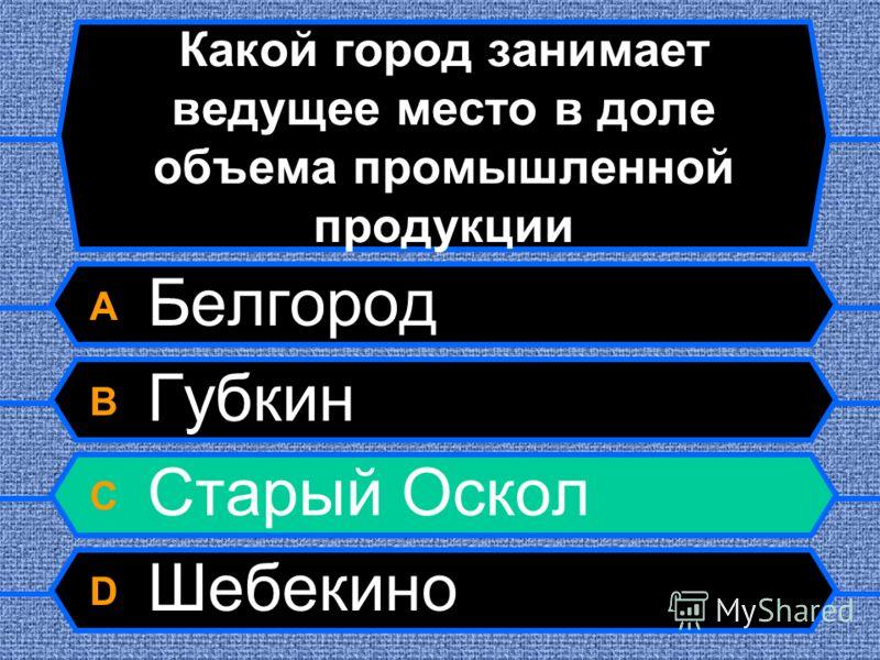 Какой город занимает ведущее место в доле объема промышленной продукции A Белгород B Губкин C Старый Оскол D Шебекино