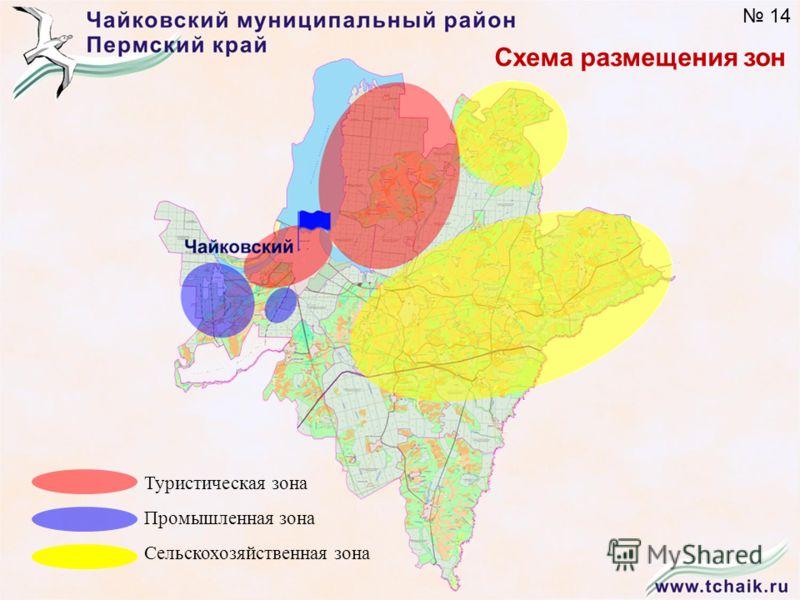 Схема размещения зон Туристическая зона Промышленная зона Сельскохозяйственная зона 14