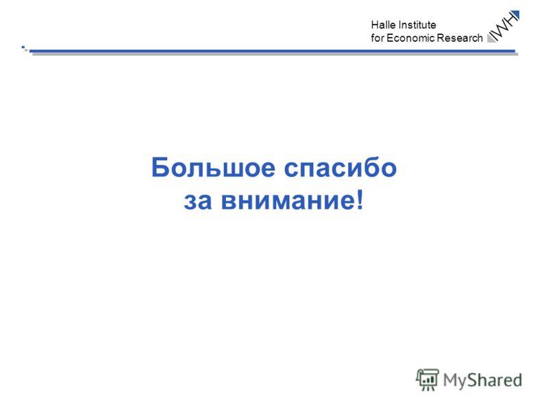Halle Institute for Economic Research Большое спасибо за внимание!