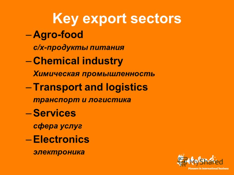 Key export sectors –Agro-food с/х-продукты питания –Chemical industry Химическая промышленность –Transport and logistics транспорт и логистика –Services сфера услуг –Electronics электроника