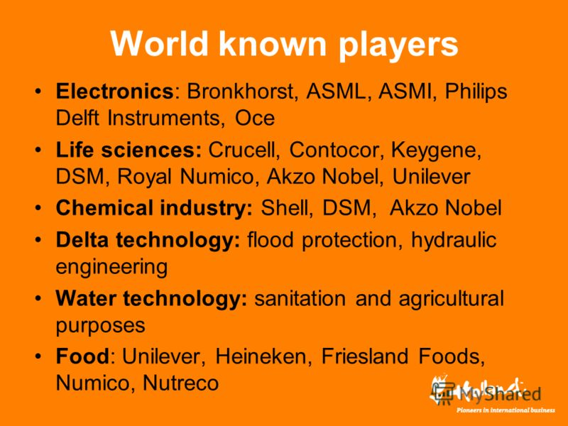 World known players Electronics: Bronkhorst, ASML, ASMI, Philips Delft Instruments, Oce Life sciences: Crucell, Contocor, Keygene, DSM, Royal Numico, Akzo Nobel, Unilever Chemical industry: Shell, DSM, Akzo Nobel Delta technology: flood protection, h